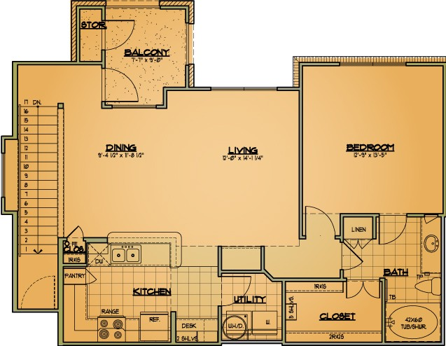 947 sq. ft. A6 floor plan