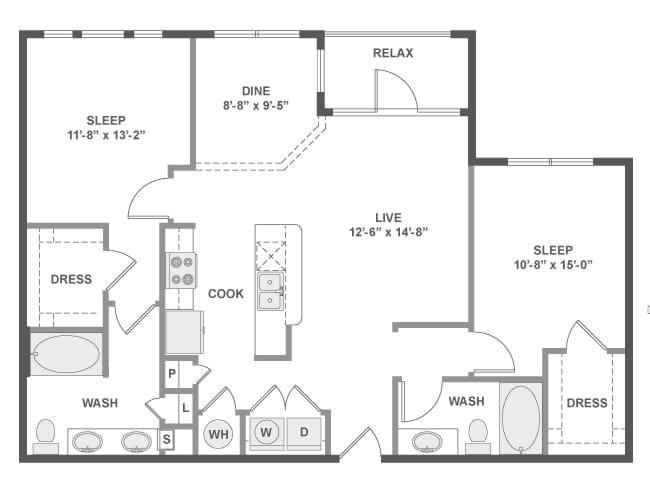 1,148 sq. ft. C5A floor plan