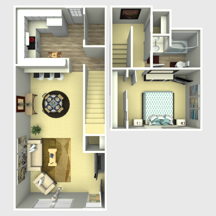 884 sq. ft. A1 floor plan