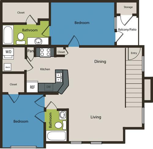 1,137 sq. ft. B1U floor plan