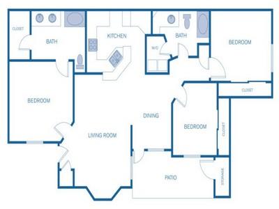 1,220 sq. ft. D floor plan