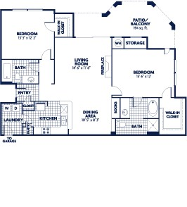 1,181 sq. ft. B8 floor plan