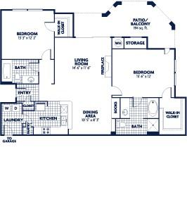 1,181 sq. ft. B8 floor plan