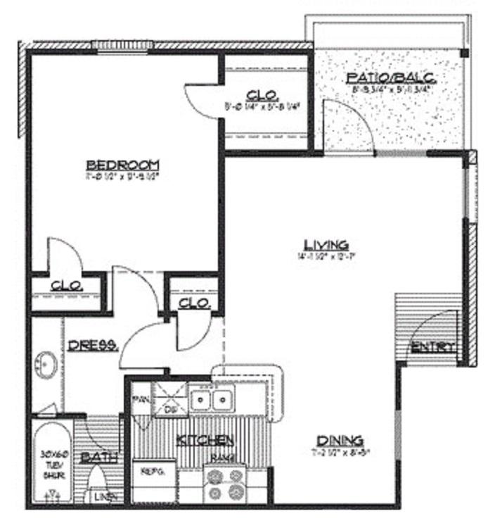 620 sq. ft. B floor plan