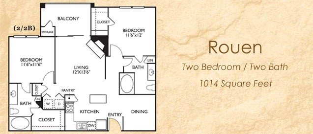 1,014 sq. ft. 22B floor plan