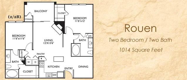 1,014 sq. ft. 22B floor plan