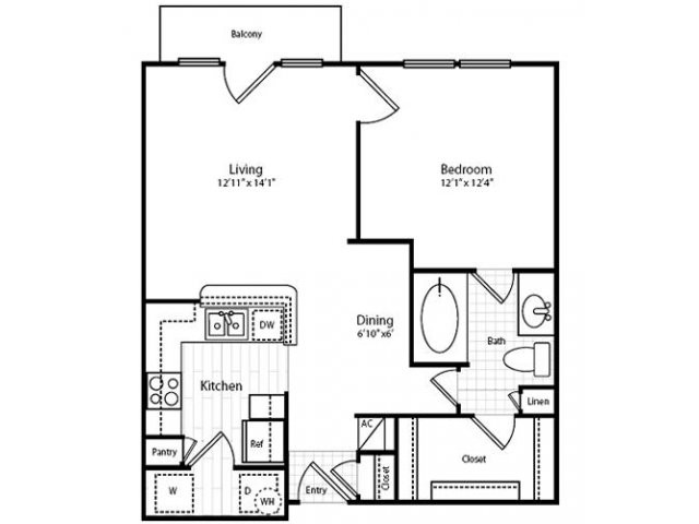 671 sq. ft. A12/A13 floor plan