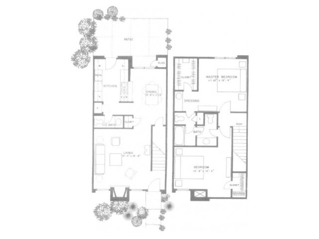 1,257 sq. ft. E12T floor plan