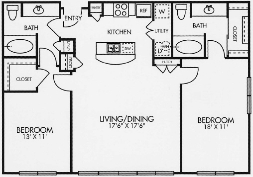 1,144 sq. ft. B2SOL floor plan