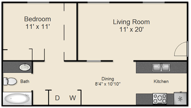 670 sq. ft. B w/Connections floor plan