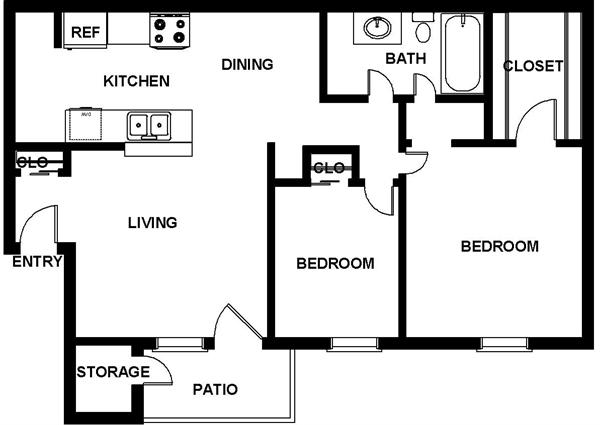 1,232 sq. ft. floor plan