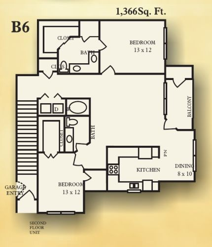 1,366 sq. ft. B6 floor plan