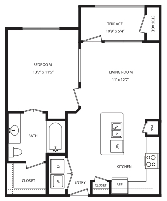 663 sq. ft. A2 floor plan