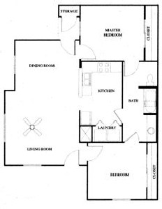 1,066 sq. ft. 60% floor plan