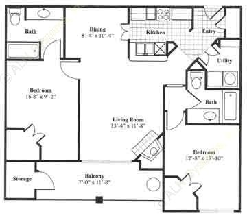 1,052 sq. ft. B2 floor plan