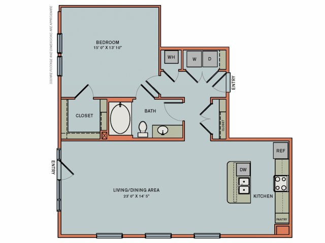 1,019 sq. ft. 2A4 floor plan