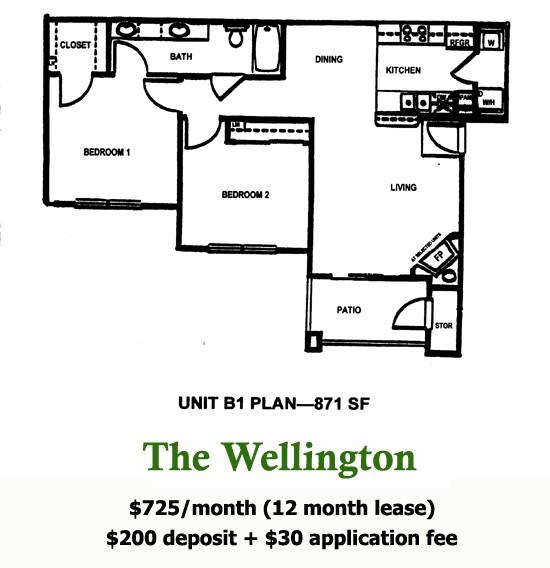 871 sq. ft. Wellington floor plan