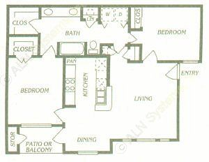 955 sq. ft. B1 floor plan