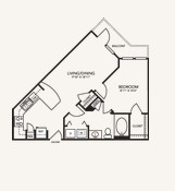 687 sq. ft. A1H floor plan