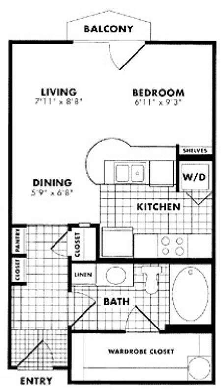 433 sq. ft. to 549 sq. ft. Cooper floor plan