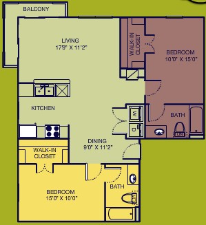 1,040 sq. ft. Corner B floor plan