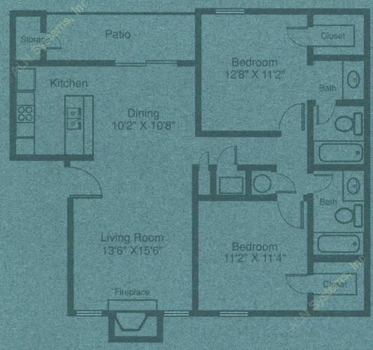971 sq. ft. B2 floor plan