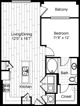 766 sq. ft. A6 floor plan