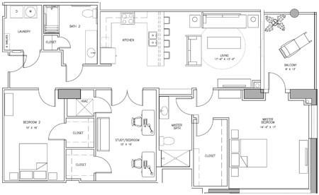1,706 sq. ft. H floor plan