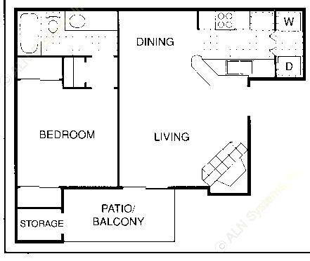 581 sq. ft. B floor plan
