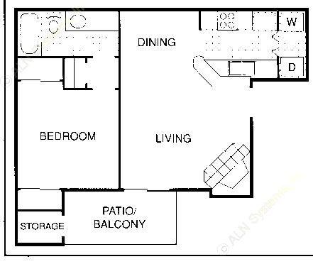 581 sq. ft. B floor plan