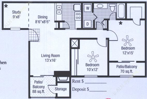 890 sq. ft. to 1,048 sq. ft. floor plan