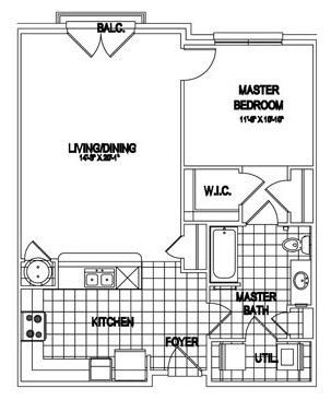 811 sq. ft. Wentworth floor plan