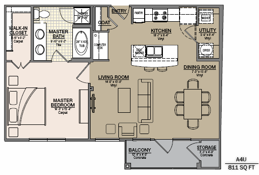 811 sq. ft. A6G floor plan