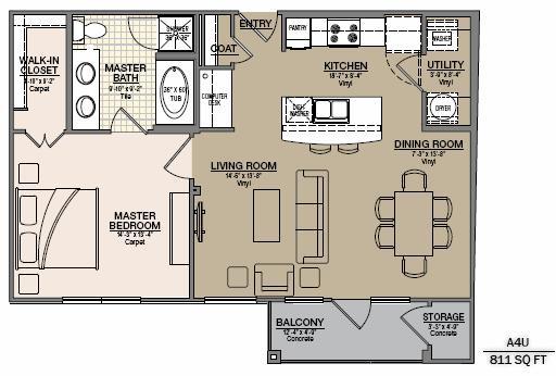 811 sq. ft. A6G floor plan