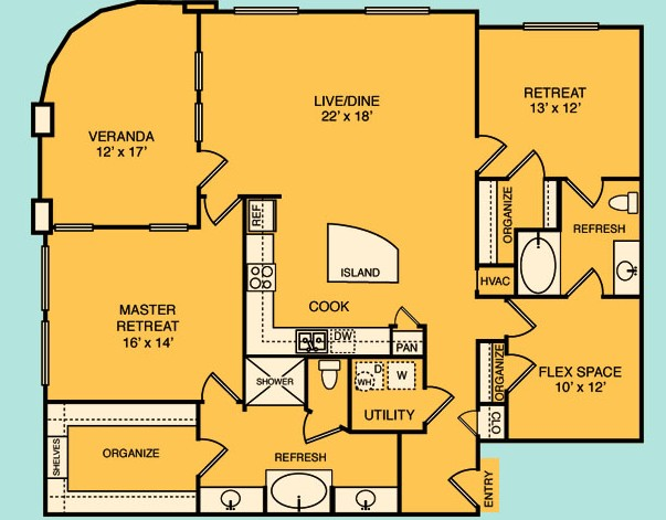 1,693 sq. ft. C6 floor plan