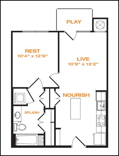 594 sq. ft. floor plan