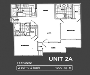 1,227 sq. ft. A2 floor plan