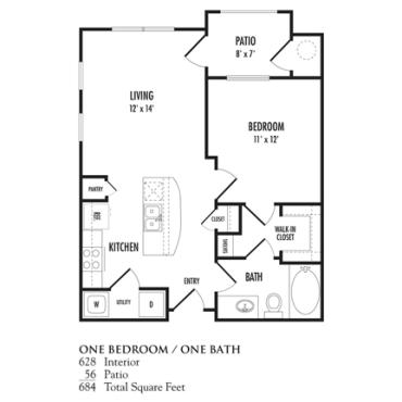 628 sq. ft. Piccolino floor plan