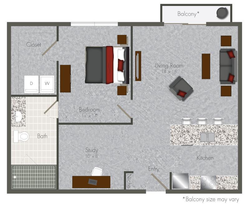 768 sq. ft. 1S floor plan