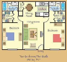 910 sq. ft. B3W floor plan