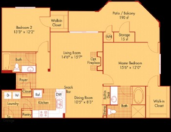 1,181 sq. ft. B4 floor plan