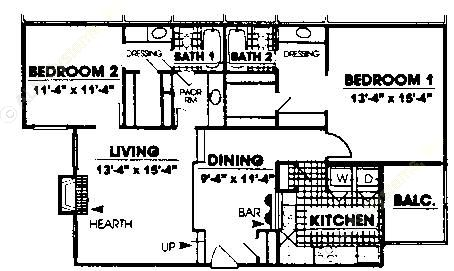 1,191 sq. ft. B2 floor plan