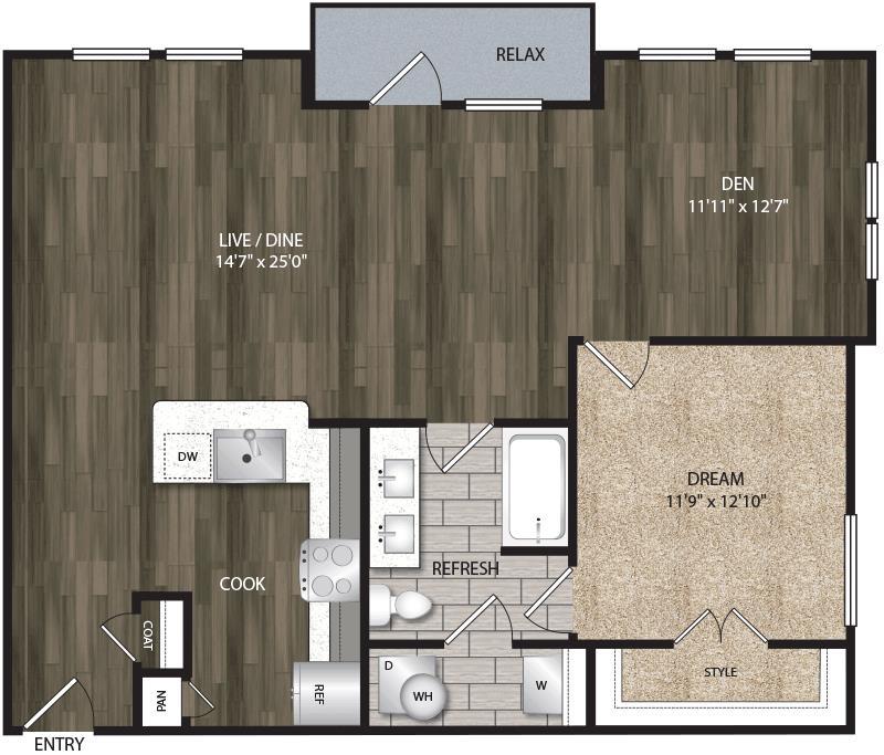 954 sq. ft. A7 floor plan
