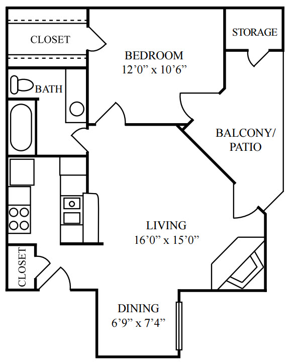 612 sq. ft. B floor plan