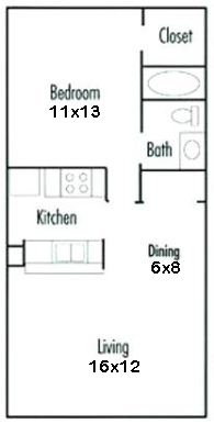 578 sq. ft. floor plan