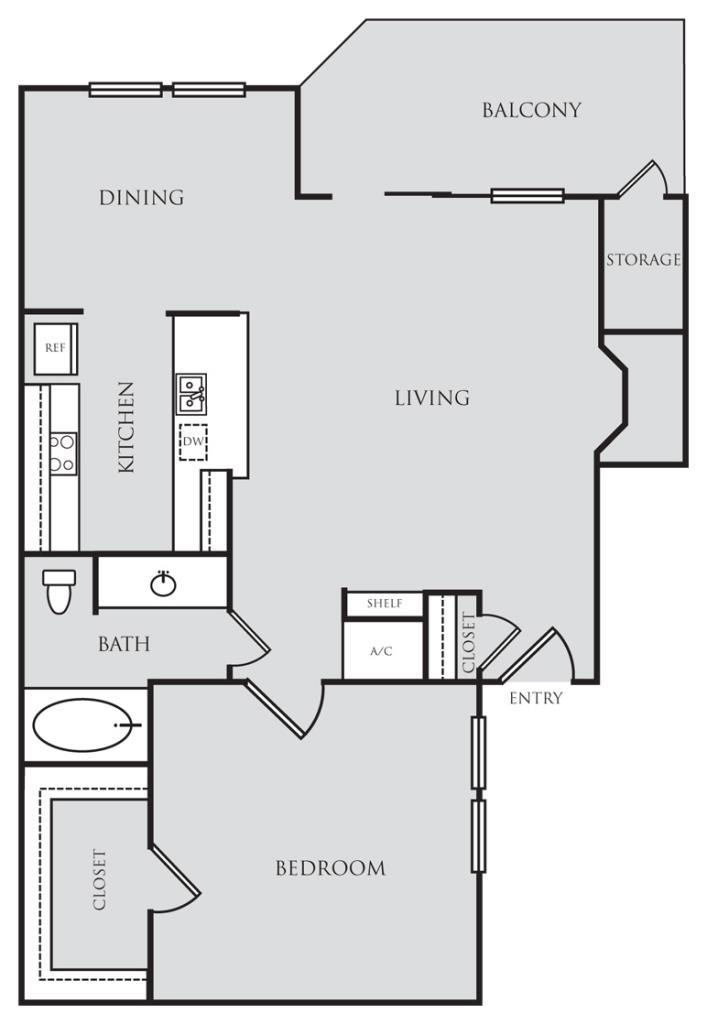 720 sq. ft. A1 floor plan