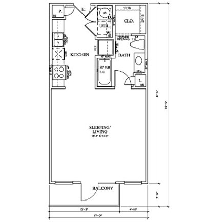 528 sq. ft. E floor plan