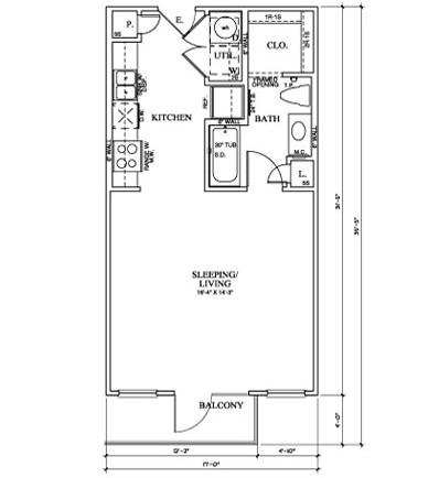 528 sq. ft. E floor plan