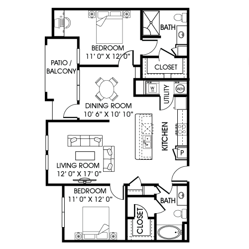 1,154 sq. ft. B3-D floor plan
