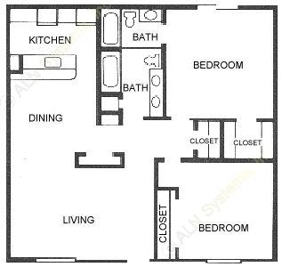 1,040 sq. ft. 2X2 floor plan